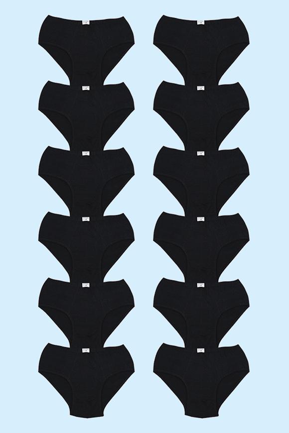 12' li Siyah Penye Süprem Erkek Kilot