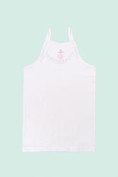 CEYLANOĞLU - 6'lı Beyaz Kız Çoçuk Papatyalı İp Askılı Atlet